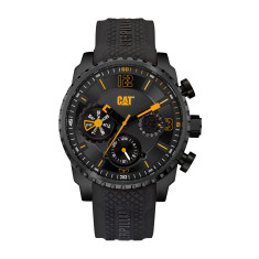 CAT Mossville series Watch in Gun Metal Steel with Black Silicon Band in a Black & Yellow Dual Time multi-dial face