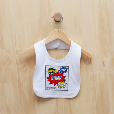 Personalised superhero comic bib