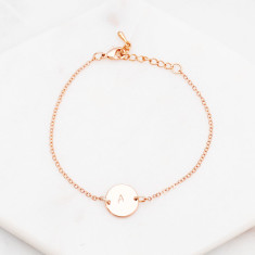 Personalised hand stamped initial disc bracelet in rose gold or silver
