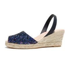 Lluna leather sandals in opal glitter
