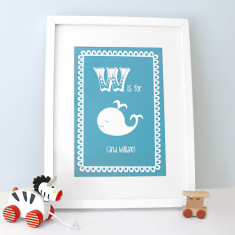 Personalised W is for whale child's letter print