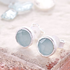 Cupcake Stud Earrings In Silver With Aqua Chalcedony