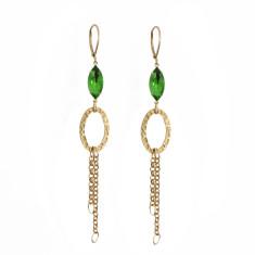 Emerald green vintage glass and fine brass tassel earrings