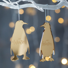 Personalised Mirrored Mr And Mrs Penguin Decoration