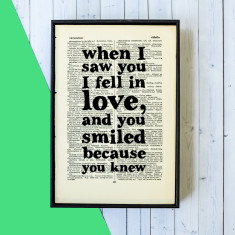 Typographic love quote book page art