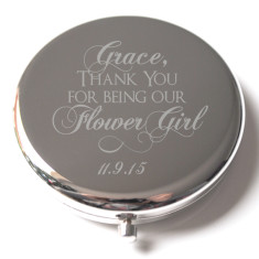 Personalised engraved silver flower girl compact mirror