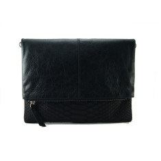 Black python & milled leather reversible foldover zip clutch