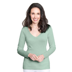 Silk Cashmere V Neck Sweater with Pointelle Detail - Sage