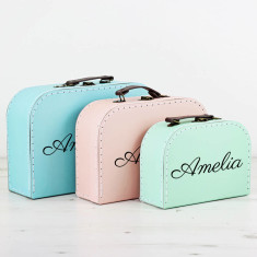 Personalised Pastel Suitcase Storage Box Trio