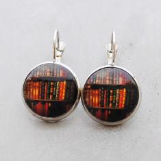 Bookshelf glass dangle drop earrings in silver