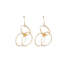 Line art flower earrings in silver or gold