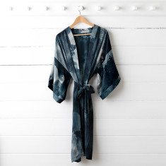 Midnight Ink Silk Dressing Gown
