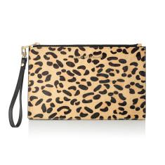 Capri Leopard Print Calfhair Clutch