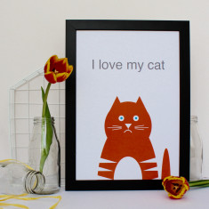 I Love My Cat Print