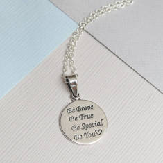 Sterling Silver Be Brave Quote Necklace