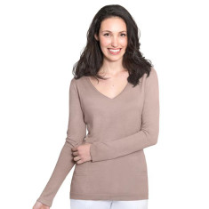 Silk Cashmere V Neck Sweater with Pointelle Detail -  Sand Stone