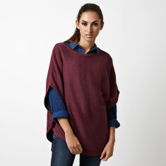 Reversible cotton cashmere poncho in red heather / navy