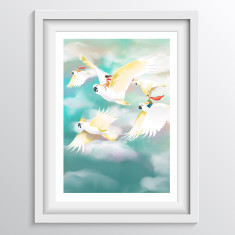 Cockatoo Wall Art for Children - Nursery or Bedroom Decor Print