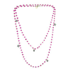 Pink petal rosary chain necklace