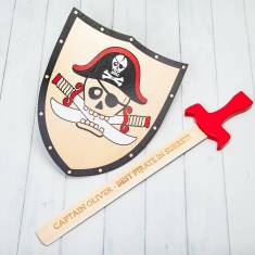 Personalised Pirate Wooden Toy Sword And Shield