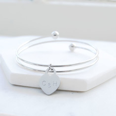 Personalised always in my heart bangle in silver