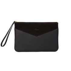 Lena clutch in black leather with suede