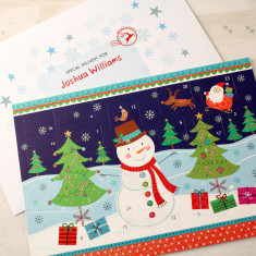 Personalised Snowman Advent Calendar And Envelope