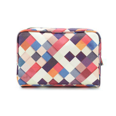 Colourful Checkered Vegan Leather Large Wash Bag