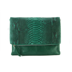 Green motif python & milled leather reversible foldover zip clutch