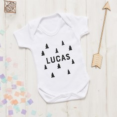 Personalised New Baby Scandi Tree Onesie