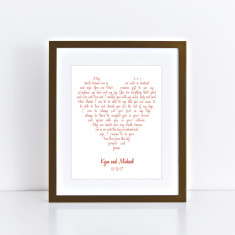 Custom love heart wedding vow art print