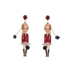 Horse Rider and Red Stone Earrings