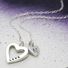 Silver Personalised Chunky Heart Necklace