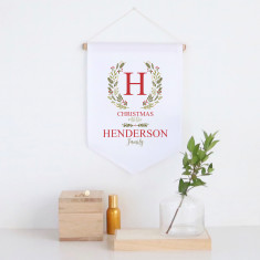 Christmas Initial Wreath Personalised pennant wall banner