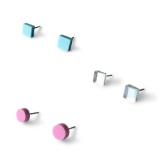 Mini - Earring studs triple pack - Baby blue, mirror and pastel purple