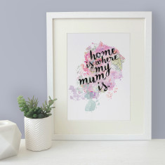Home is where my mum is watercolour map blot print
