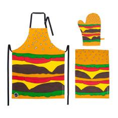 Woouf Burger Kitchen Set - Apron, Mitt + Tea Towel
