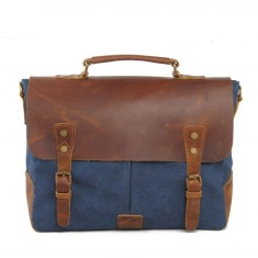 Retro messenger bag in blue