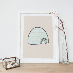 Cosy Igloo Illustration Fine Art Nursery Print
