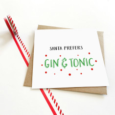 Santa prefers gin Christmas Card
