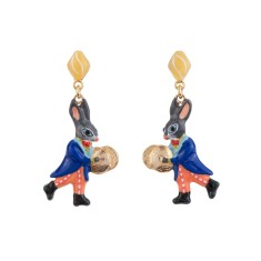 Cymbal player little rabbit earrings