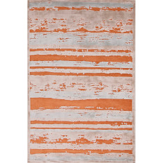 Apricot orange & barely blue lustrous finish rug
