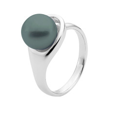 Black button pearl 9ct white gold crossover ring