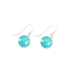 Czech glass and sterling silver turquoise sparkle earrings in gift tin