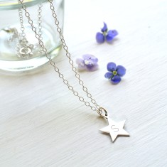 Personalised Sterling Silver Little Star Initial Pendant Necklace