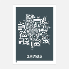 Clare Valley typographic print