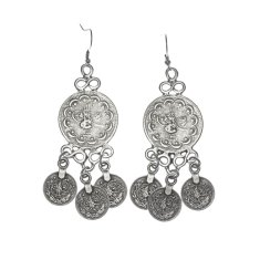 Large modern tribal boho coin earrings