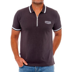 Classic charcoal men's polo with zipper
