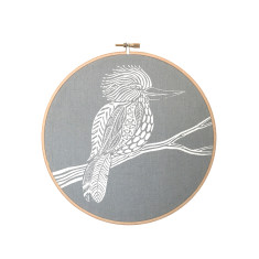Screen printed Kookaburra framed in embroidery hoop (grey blue) - small