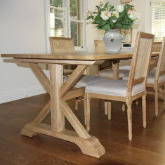 French country cross base dining table